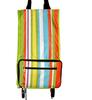 Hot Rainbow design foldable wheels trolly shopping bag