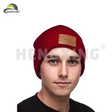 Maroon Beanie Hat For Men With Leather Label Maroon Hip Hop Beanie