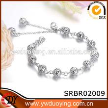 New Design Girls Hollow Ball 925 Sterling Silver Snake Bracelet