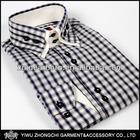 white and navy plaids mens shirt 100% cotton