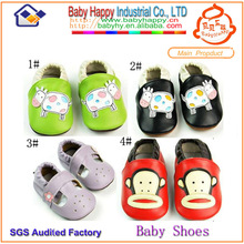 Guangdong soft leather hard sole baby shoes walking shoes