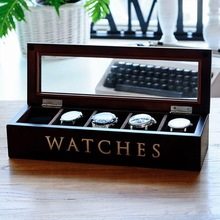 Real Wooden Import Russian Pine Fashion 5 Grid Watch Storage Box Watches Case