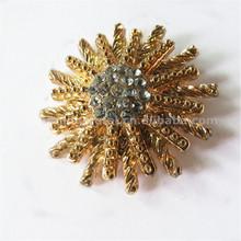 Bling gold metal interchangeable snap shoe flower