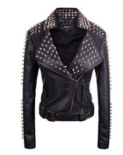 Guangzhou garment factory women's european thooo slim studs PU leather rider kawasaki motorcycle jacket