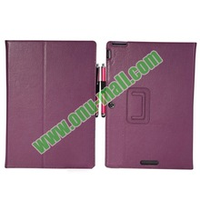 Litchi Texture Leather Purple Stand Case for Asus Transformer Pad TF701T