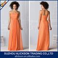 uma delicada linha de andar de comprimento strapless ruffle chiffon longo laranja vestidos das damas de honra