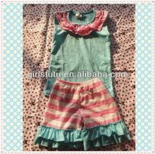 Funny children aqua tank top matching stripe shorts clothes in spain with cheap factory price