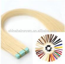 Straight 100%European hair keratin fusion tape hair extension
