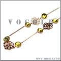 De alta qualidade linear tipo de flor com pedra preciosa amarela estilo colar de aço inoxidável