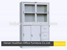 high quality metal locker/2 glass door steel cabinet