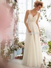 A-line/Princess V-neck Sleeveless Applique Chiffon Sweep/Brush Train Prom Dresses