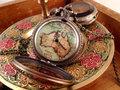 Relógio inteligente grande estilo Vintage de vidro globo mapa relógio de bolso colar de vidro âmbar cadeia colar de jóias bateria incluída