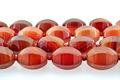 Natural de ágata de piedras preciosas tipo, semi preciosas redondeadas piedras preciosas de color rojo nombres