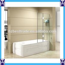 HTSE-8710C rectangle hinge door shelf on the wall glass shower screen for bathtub