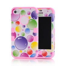 silicon+PC colorful with bubble for iphone 4 4S cover many colors for you chosen