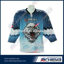 custom team logo sublimated ice hockey top with wholesale price
