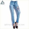 venta al por mayor nuevo diseño cero de molienda patrón de bordado parche skinny jeans de mezclilla pantalones