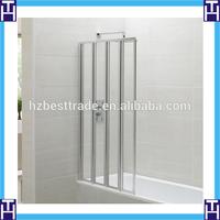 HTSE-8713 aluminum frame 4 fold left hand folding glass bath shower screen