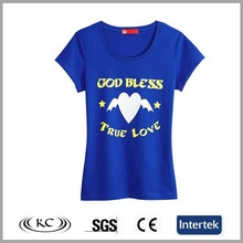 china low price 100% cotton woman blue team t shirt ideas