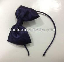 school girls fashion Korean large bow satin covered metal headband