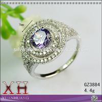 Fine Rhodium Plated Gemstone Singapore Harem Ring