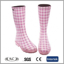 fashion italy pink plaid new sex wellies rain boots