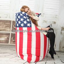 135*175cm USA/UK flag printing bean bag lounge with nonwonve inner bag
