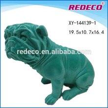Resin flocked home decorative dog