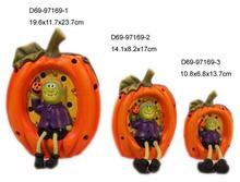 Thanksgiving pumpkin and Halloween skeleton