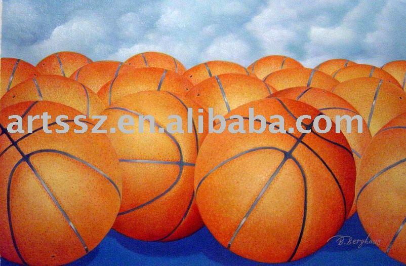 Basketball Oil Painting Handmade Basketball Oil