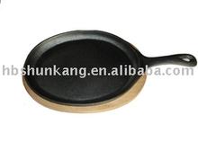 Fajita pan with wooden base