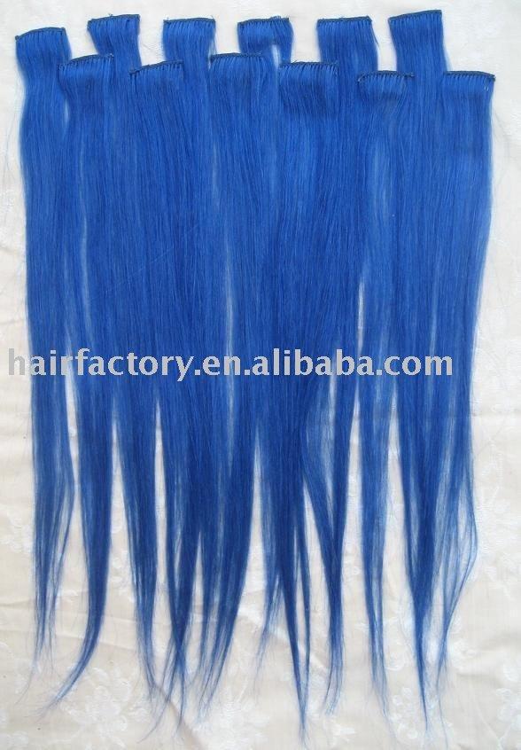 blue 100  human hair clip in