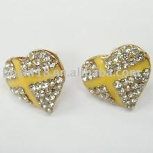 New fashion enamel heart earring crystal metal stud earring wholesale custom earring jewelry #21564