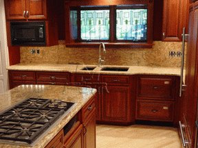 Granite Kitchen Countertops Cherry Cabinets - wallpaperin