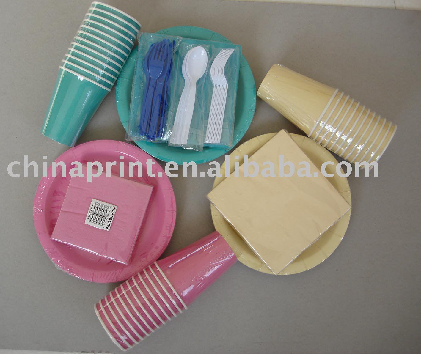 descartáveis de papel impresso copo prato guardanapo faca garfo colher