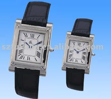 Lovers Stainless Steel Watch With Genuine Leather Strap