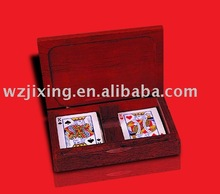 paper poker set in wooden box