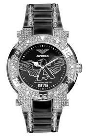 Avirex rx1151g1 men's três mão iced bezel relógio