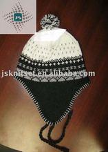 jacquard knitted hat, earflap beanie,peru hat