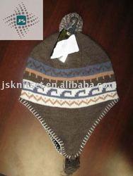 jacquard knitted hat, earflap beanie,ski hat