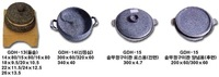 Stone utensils (stony pot, Sin sirloin, pot-cover grill for barbeque(front side), pot-cover grill for seasoning(back side))