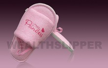 Promotonal pink terry child's Hotel Slipper with designed logo