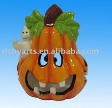 Ceramic halloween candle holder pumpkin
