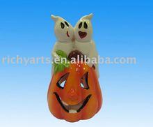 Ceramic halloween candle holder pumpkin design