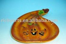 Ceramic platter pumpkin design brown color