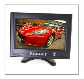 9'' tft LED monitor with TV DC 12V power supply LED backlight panel AV input function