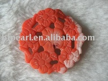 30mm round red flower carved natural coral pendant
