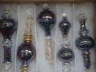 Christmas Pyrex Glass Ornaments -- Violet Elongated Ornaments