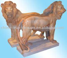 Marble Sculpture of Walking Lion