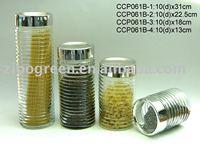 CCP061B clear glass jar with plastic silver lid